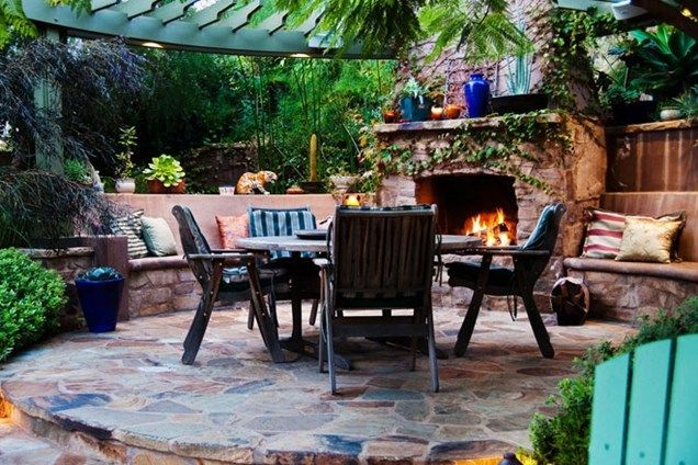Custom Outdoor Fireplace, Outdoor Fireplace Seating Small Yard Landscaping  Terry Design Inc Fullerton, ...