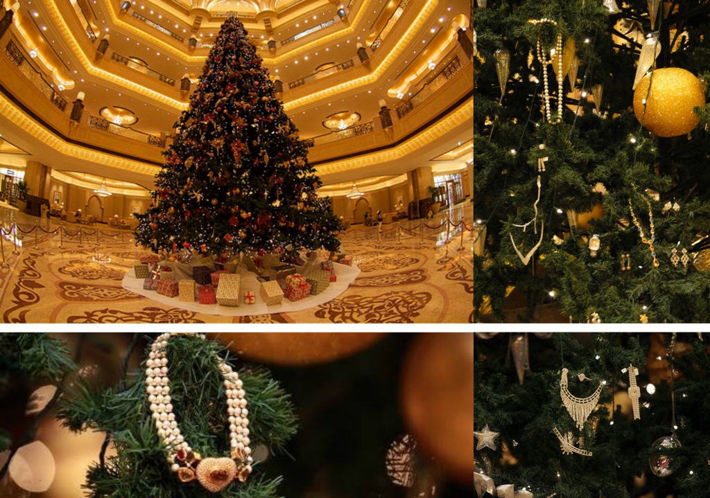 This Christmas Tree Has More Gifts Than Santa One Of Worlds Most Expensive Christmas Trees Emirates Palace Abu Dhabi Christmas Tree Christmas Holiday Decor