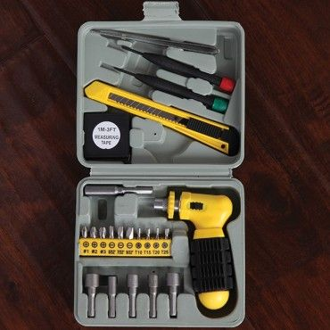 """24 PC Tool Kit - This great little tool set has a custom grip ratchet, 10 screw bits, 5 nut driver sockets, extension bar, utility knife, 3 ft. measuring tape, 2 precision screwdrivers, tweezers and a bit holder. 24 pieces in all. 6"""" x 6"""" storage case included."""
