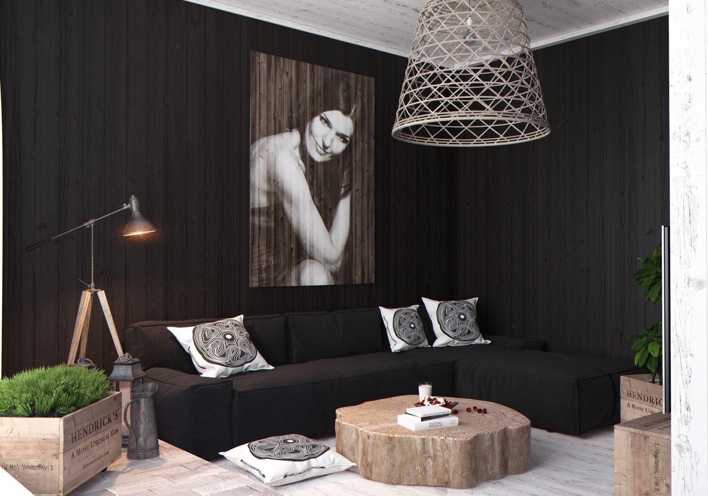 black  zen  small living room gorgeous apartment