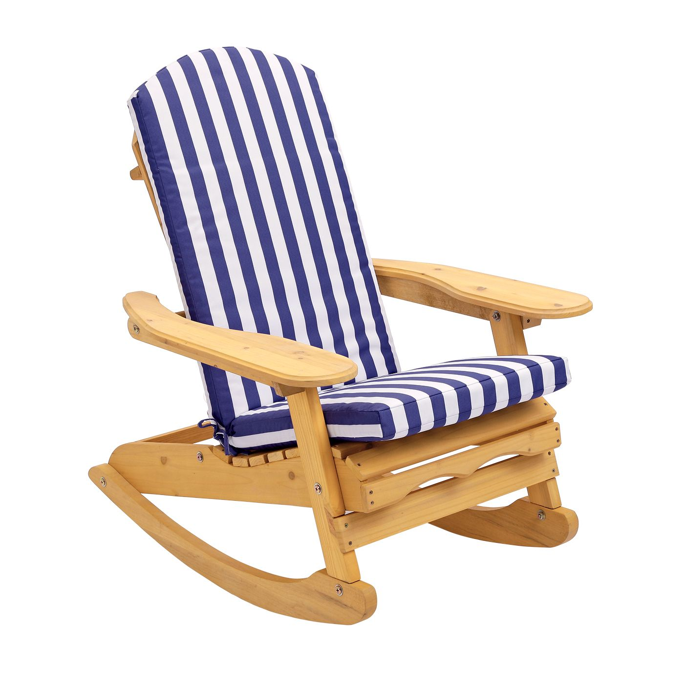 Garden patio rocking chair with blue white striped