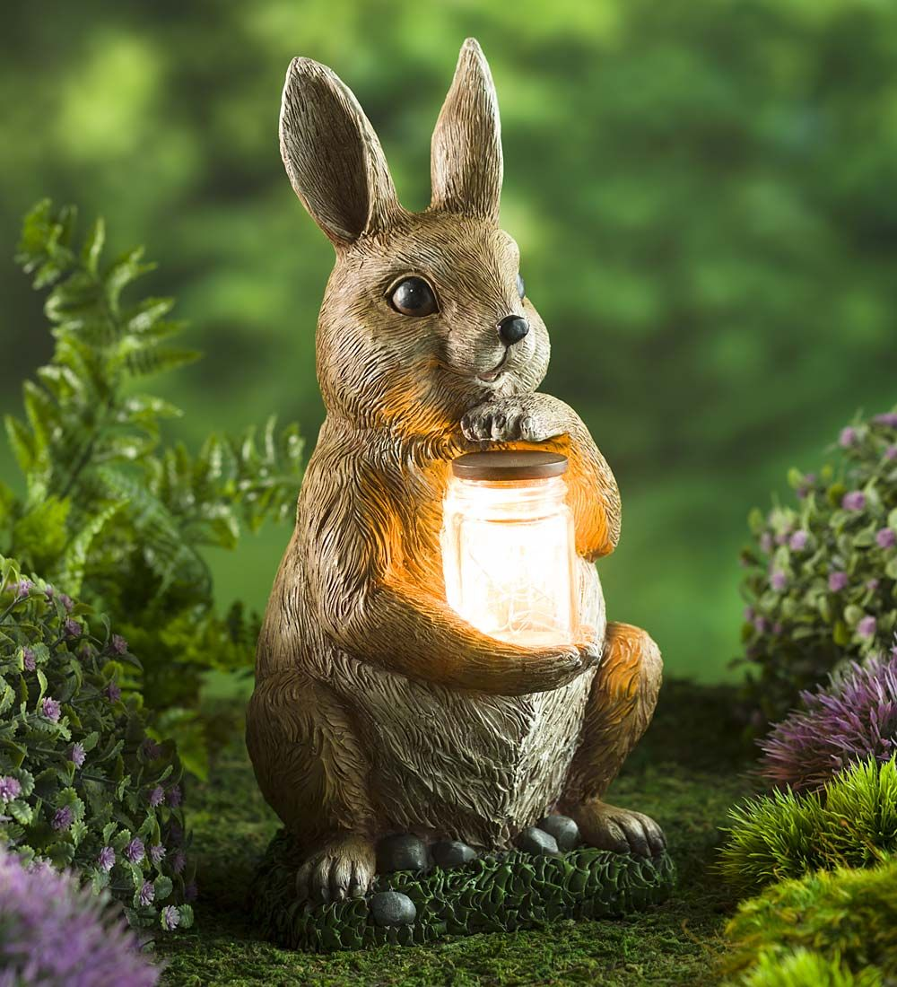 Woodland Animal Garden Sculpture with LED Jar | Solar Accents ...