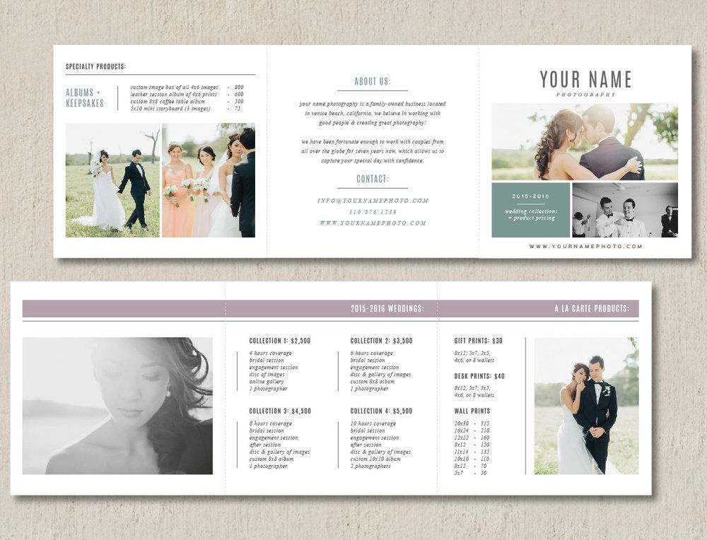 pricing guide template trifold venice photographer marketing