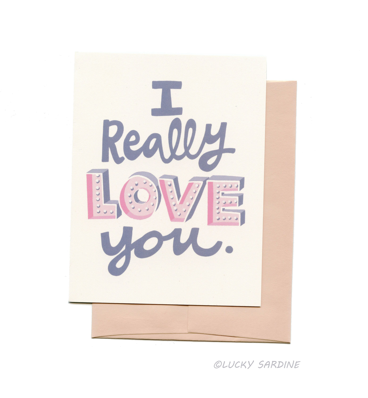 Retro Love Card Love Marquee Card I Really Love You Card