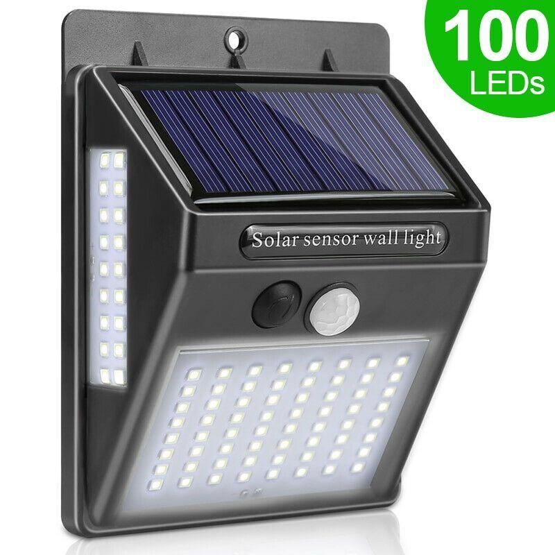 100 Led Luz Solar Lámpara Solar Exterior Pir Sensor De Movimiento Luz De Pared Lamparas Solares Para Exterior Led Sensores De Movimiento