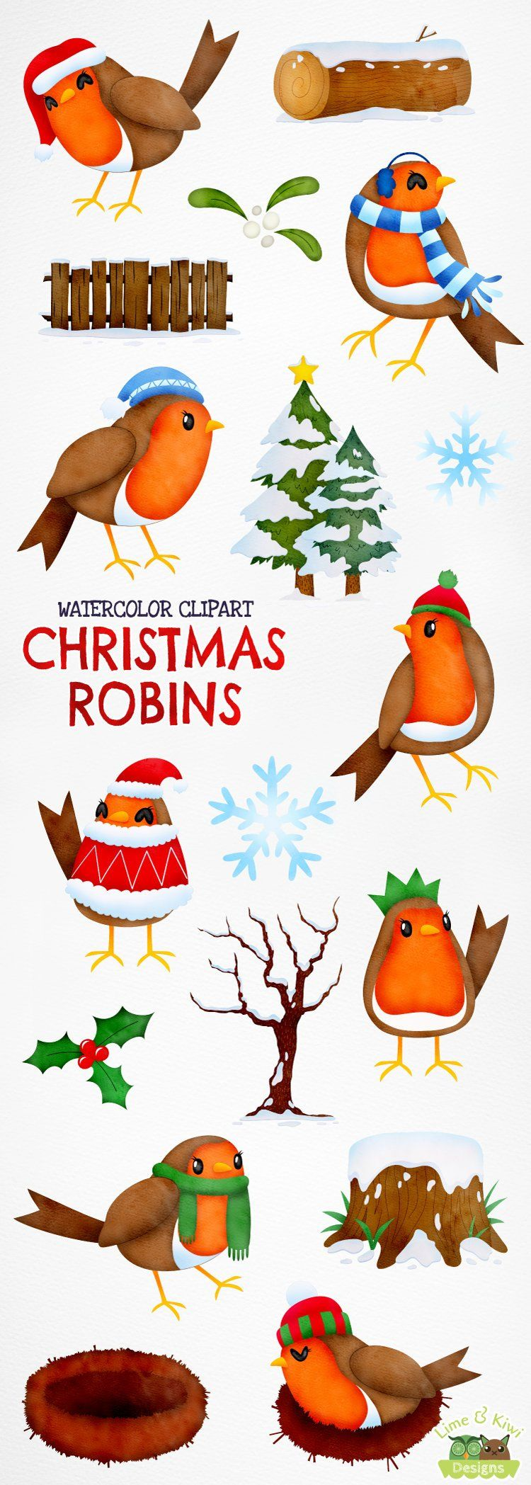 small resolution of christmas robins watercolor clipart instant download vector etsy
