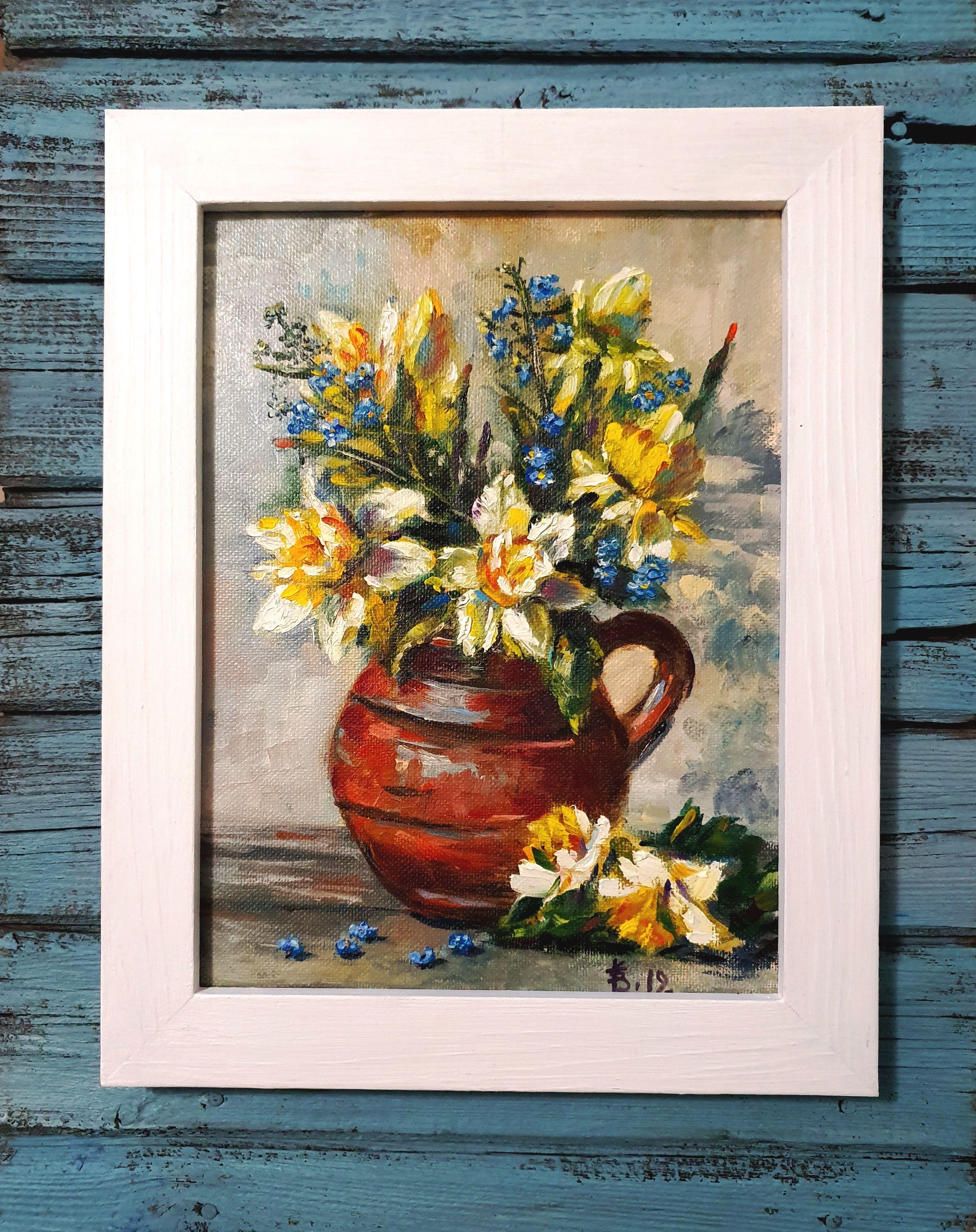 Daffodils original painting Blue wall art