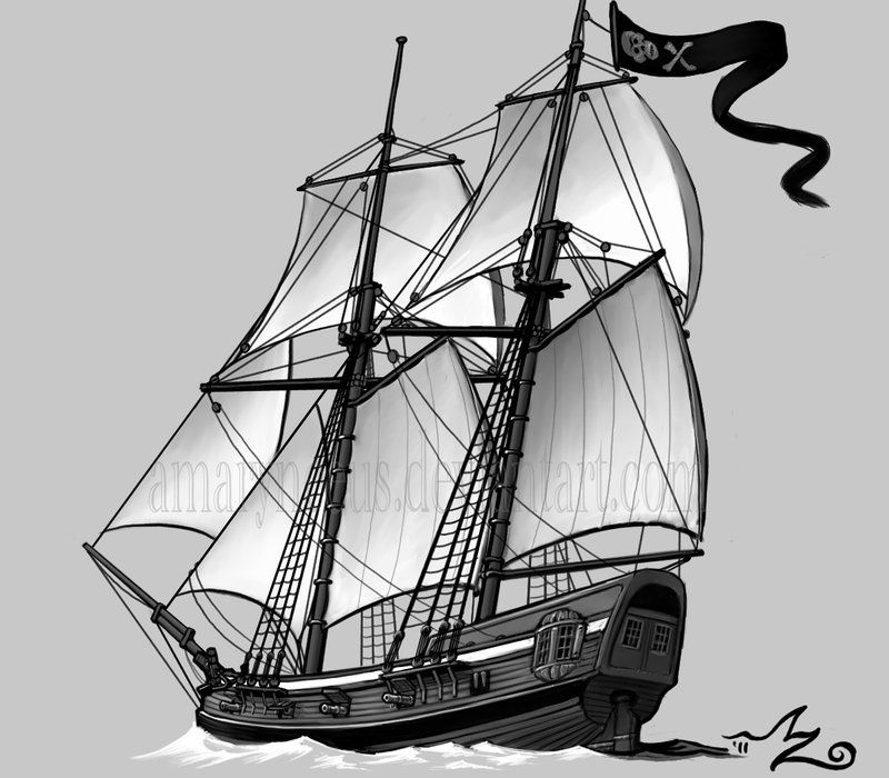 Pirate Schooner by Amarynceus