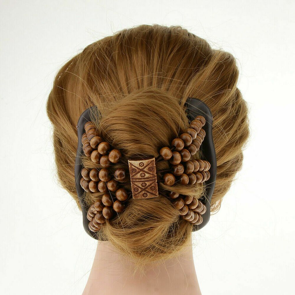 Magic Stretch Double Hair Comb Clip Wood Beads Double Hairpin Accessories Unbranded Doubleclipcomb Hair Accessories Girls Hair Accessories Thick Hair Styles