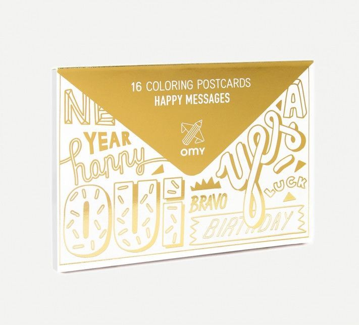 HAPPY MESSAGE COLORING POSTCARDS
