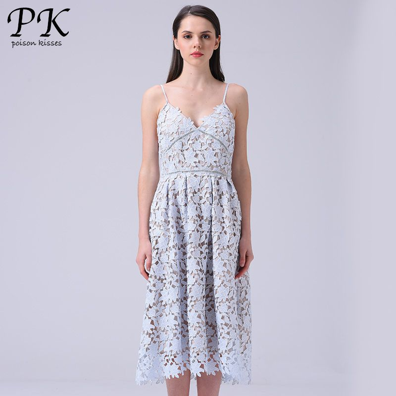 PK light blue lace dress summer 2017 padded hollow out long party ...