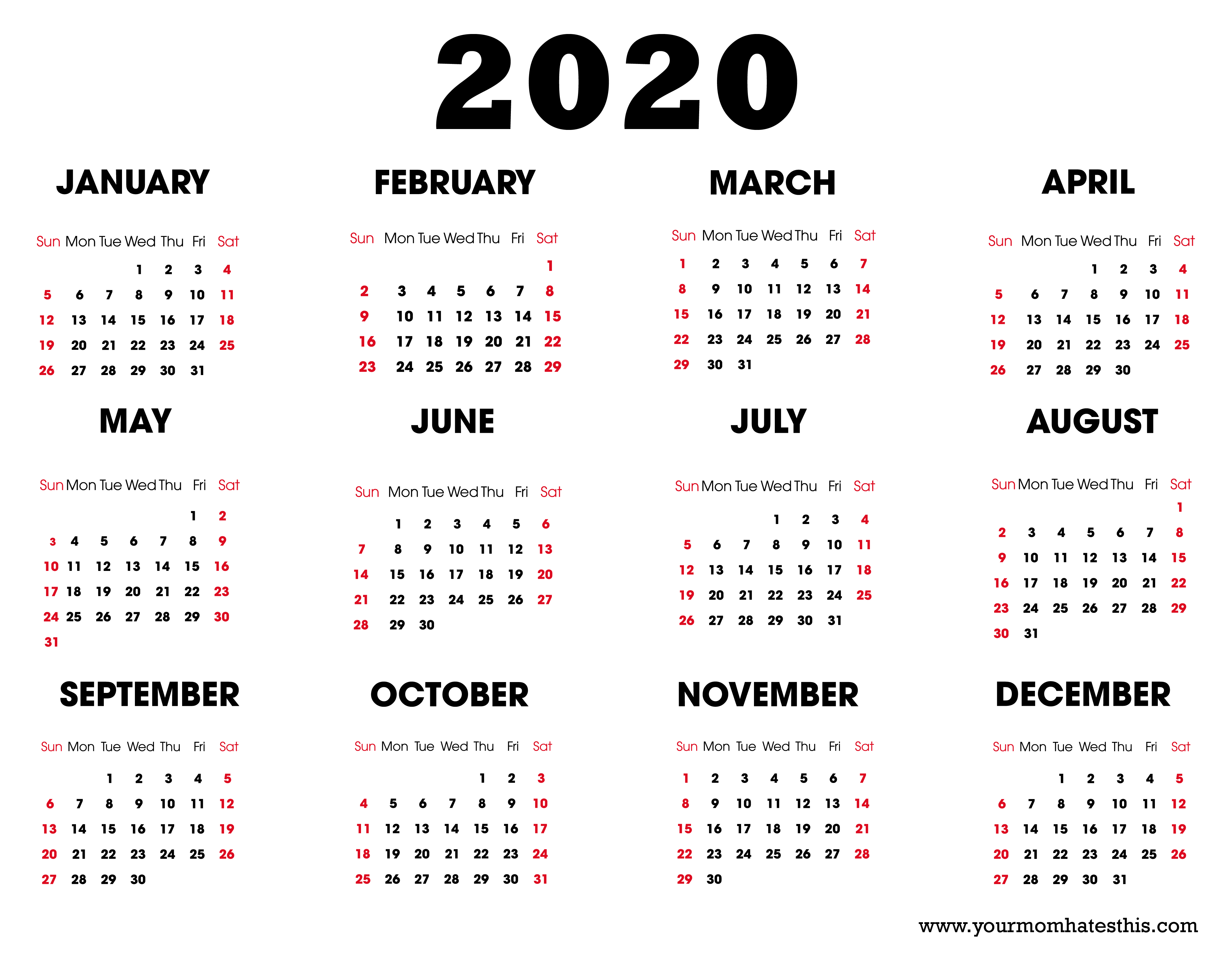 2020 Calendars White Background Black Text Red Holidays 2020 Calendar Free Printable Calendar Templates Printable Calendar Template Printable Blank Calendar