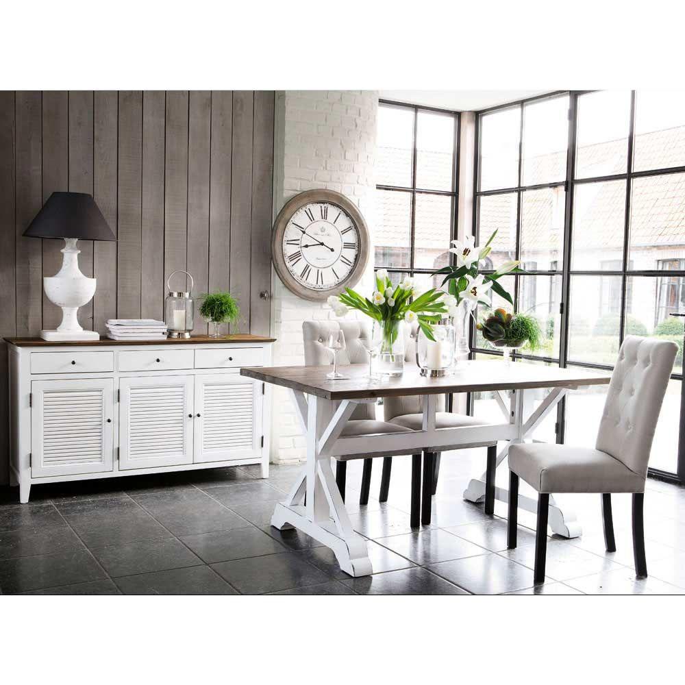 chaise capitonn e en lin et bois beige elizabeth maisons. Black Bedroom Furniture Sets. Home Design Ideas
