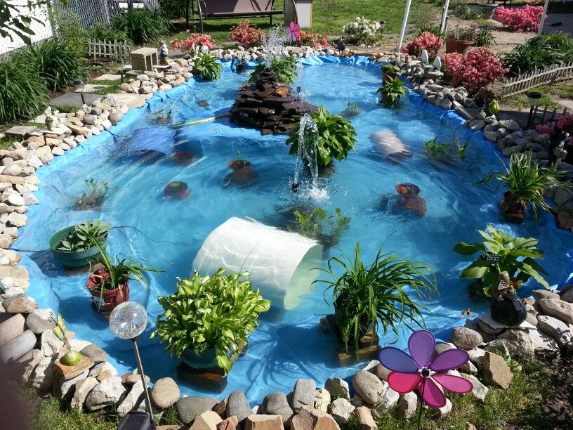 Pin by paula oburn on pools ponds pinterest for Homemade pond liner