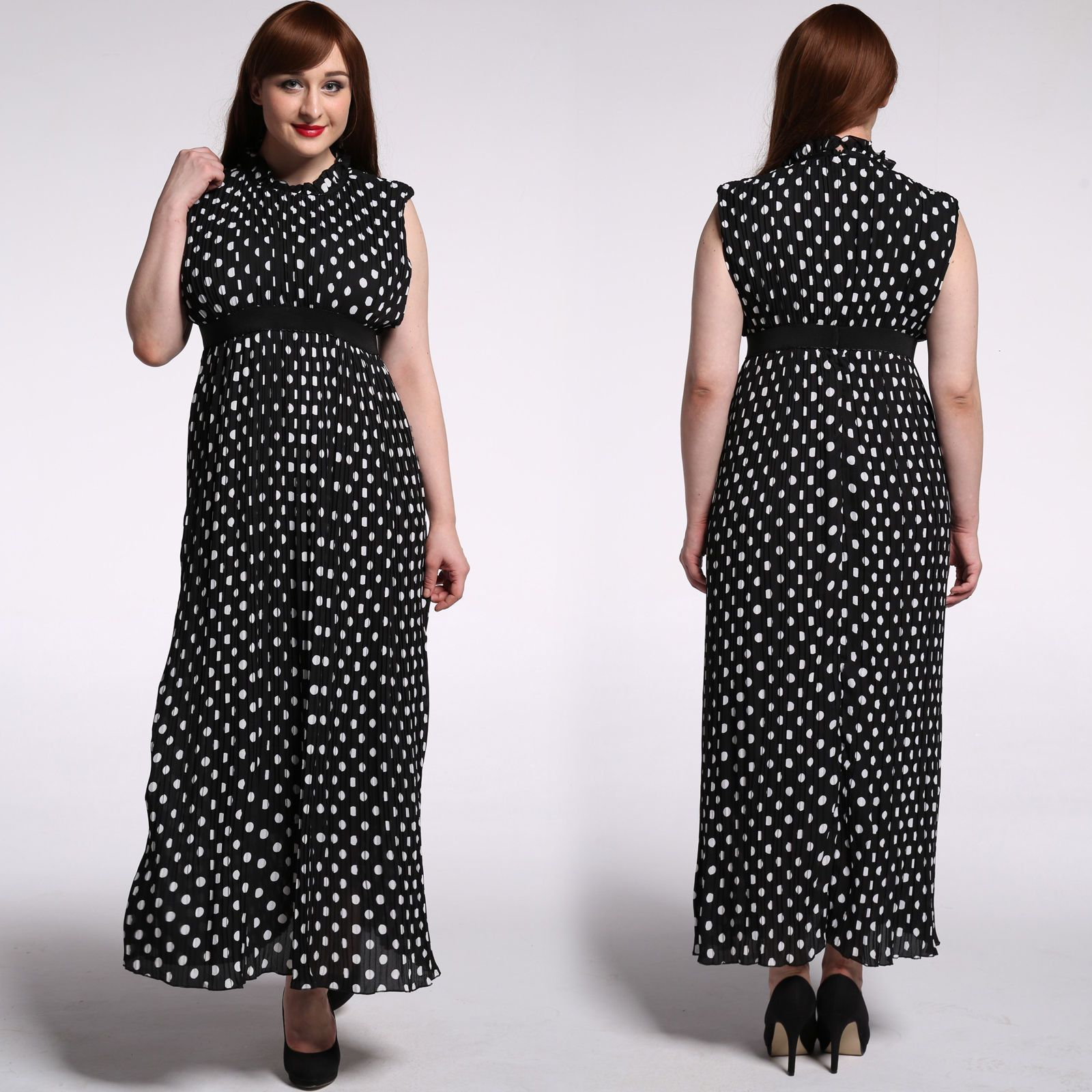 Lxl plus size womenus long dress polka dot pleated everyday party