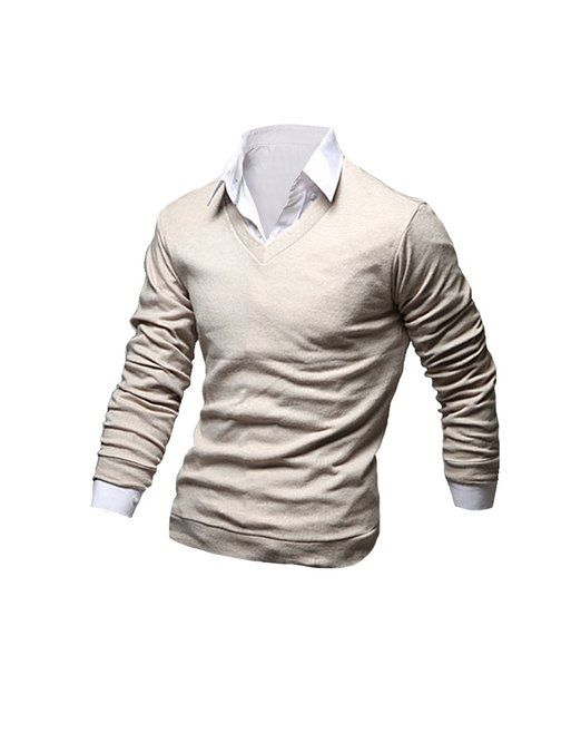 Tom's Ware Mens Stylish V-Neck Slim Fit Long Sleeve Sweater TWNBO120N-BEIGE-M (US S)