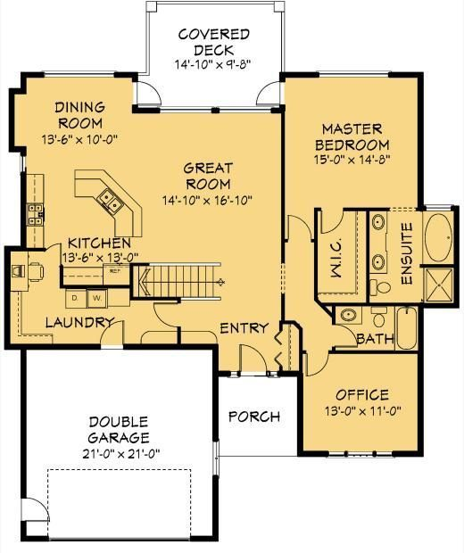 House Plan Information For E1019 10 1600 Sq Ft Cottage Floor Plans New House Plans Bedroom House Plans
