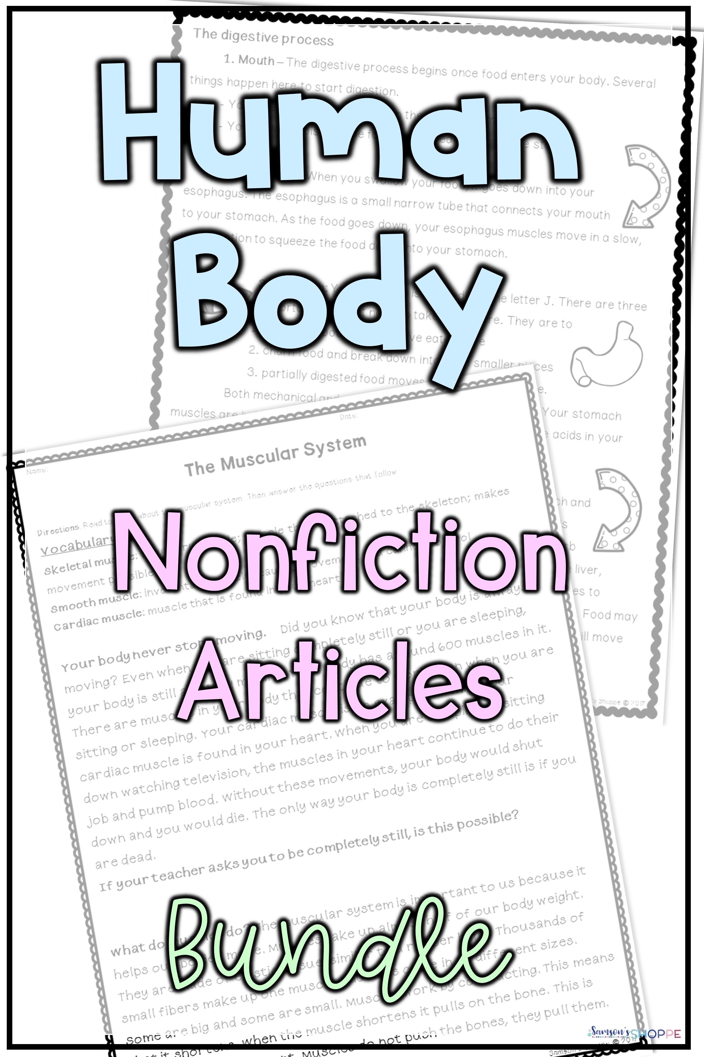 Human Body System Nonfiction Articles And Activities