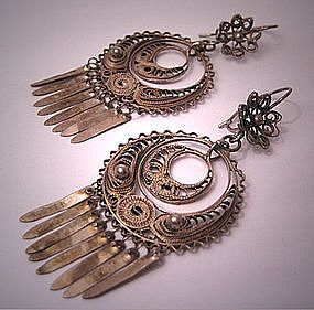 Vintage Filigree Earrings- Antique Oaxaca Mexican Silver