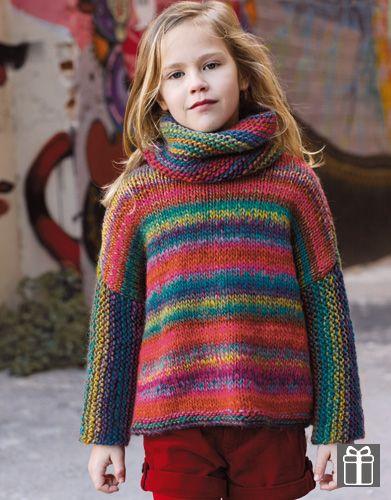 Di katia questo bel pull coloratissimo la particolarità:le maniche a legaccio ma lavorate in orizzontale, lo scaldacollo abbinato. taglie.4-6-8-10-12 anni fiòato Art wool n 63:4 gom(5-5-6-6) campio…