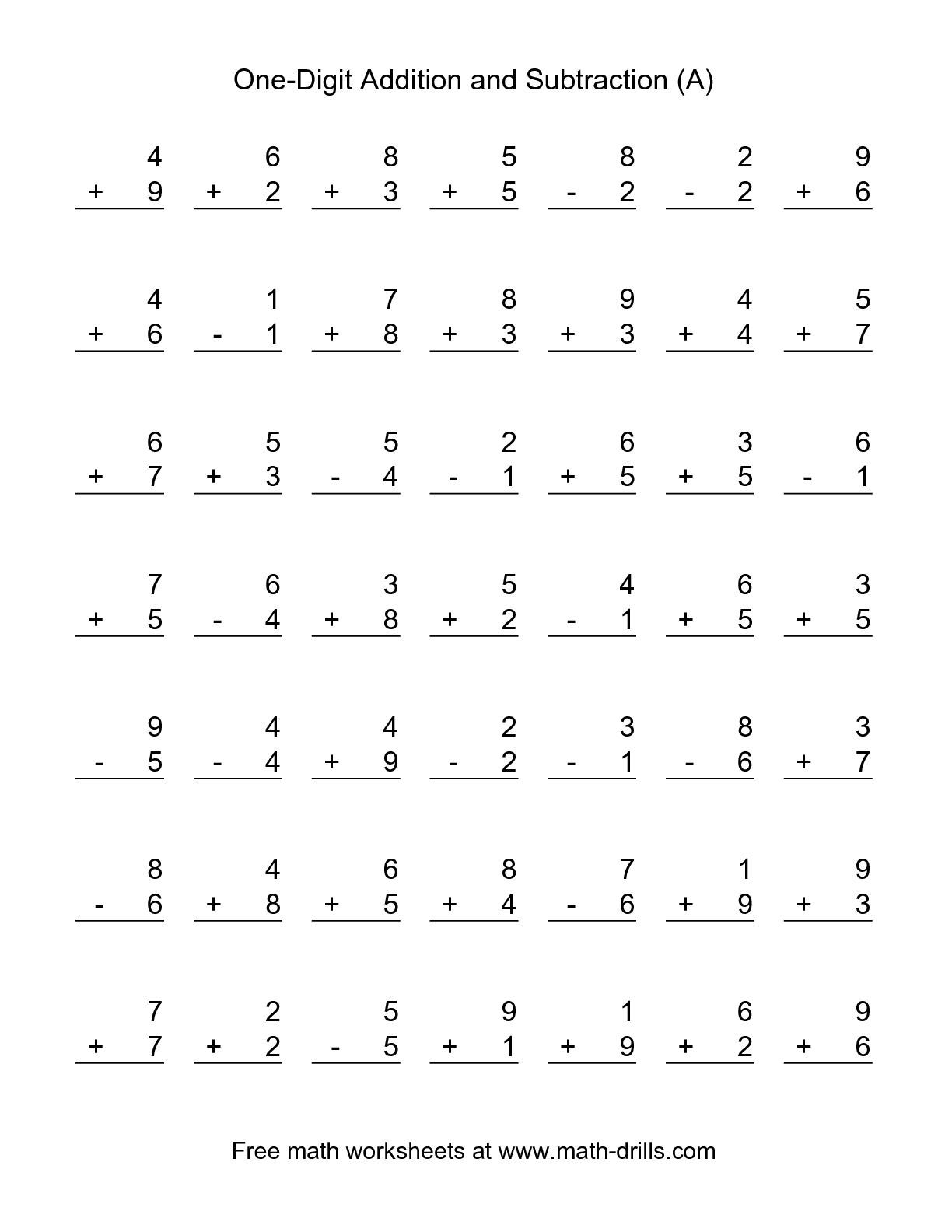 the singledigit a math worksheet from the combined addition and  the singledigit a math worksheet from the combined addition and subtraction  worksheets page at mathdrillscom