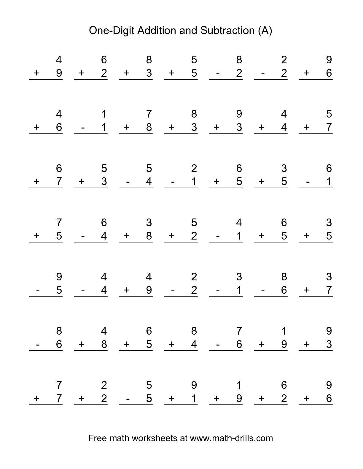 Math Worksheets 1st Grade Addition And Subtraction - Boxfirepress