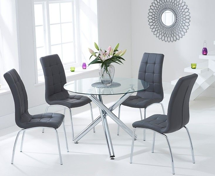 Orino 100cm Gl Dining Table With Charcoal Grey Calgary Chairs