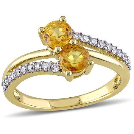 Tangelo 1 1 10 Carat T G W Yellow Sapphire And 1 5 Carat T W Diamond 10kt Yellow Gold Double Row Two Stone Ring Women S Size 8 Metal Type Yellow Sapphire Rings Diamond Stone Rings