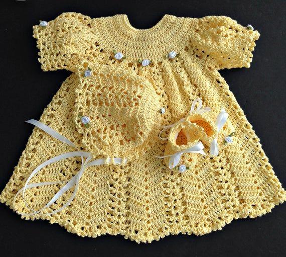 Baby Girl Coming Home/Baptism/Christening Outfit Crochet Pattern #vestidosparabebédeganchillo