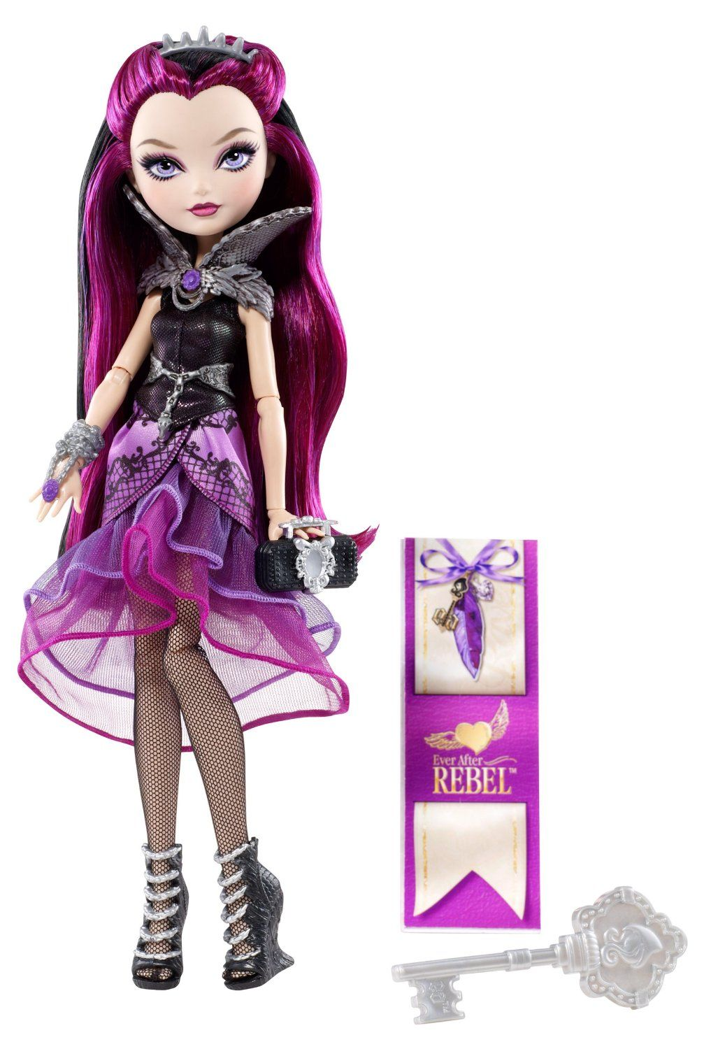 Ever After High Raven Queen Doll depicts the elegantly Gothic styled character of daughter of the hated Evil Queen. This awesome doll is gorgeously dressed in a purple and black color themed Goth outfit that suits her character perfectly!