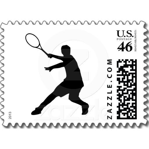 #Tennis #stamps with silhouette of a player  zazzle.com