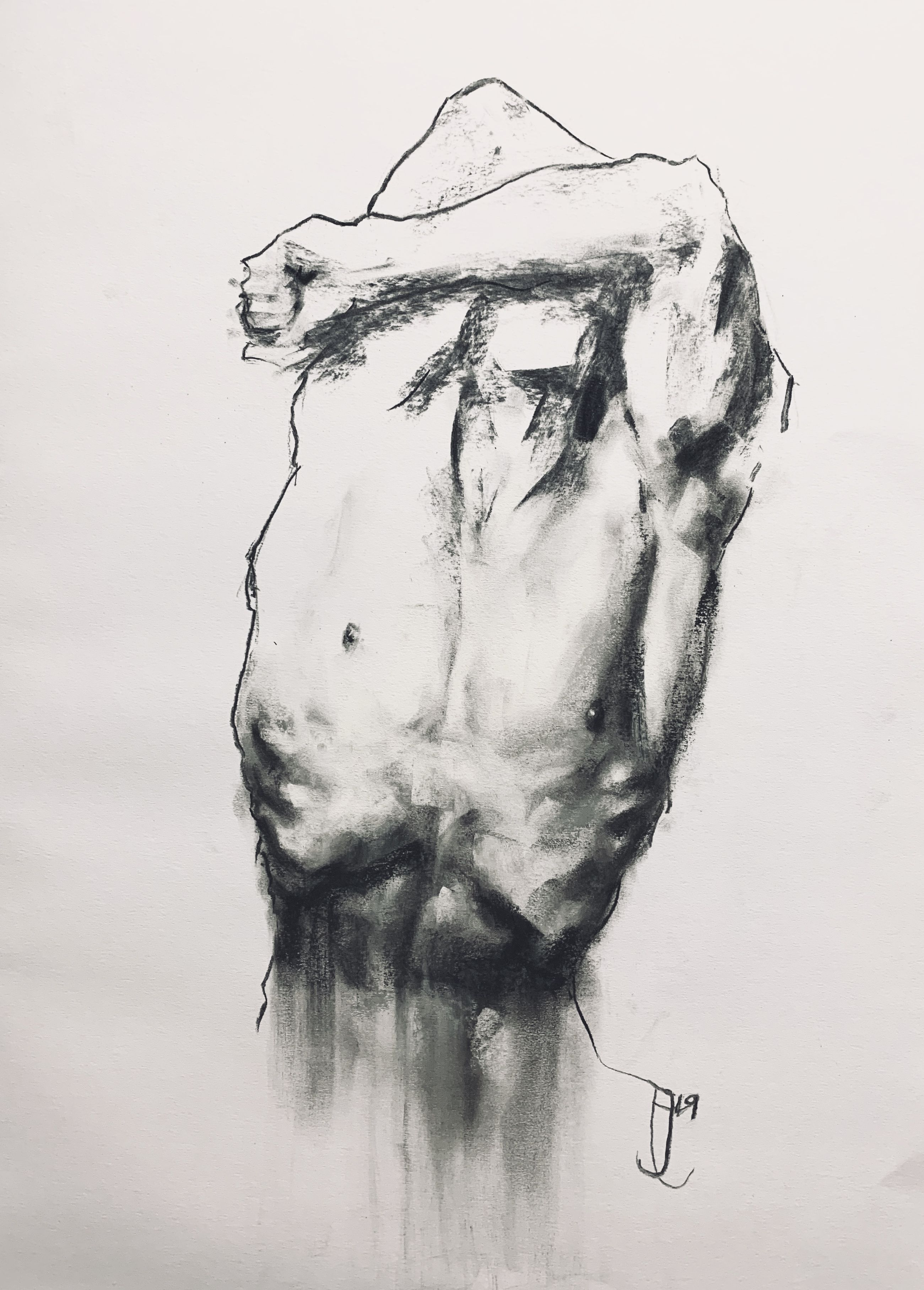 The third in a series of gesture drawings focusing on the male form, done in charcoal and pastel. I use the pastel to add detail to certain areas, and the charcoal to outline keep other areas minimal.  Pastel: @sennelier1887  Paper: @fabriano1264   www.jordaneastwood.co.uk  #malefigure #figuredrawing #figurativeart #expressiveart #gesturalart #gesturedrawing #darkart #masculinity #strong #britishartist #devonartist #devon #kraftig #outlinedrawing