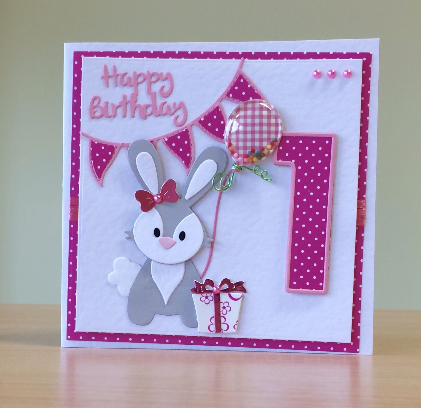 First Birthday Card Handmade Marianne Rabbit Die For More Of My Cards Please Visit Craftycardst First Birthday Cards 1st Birthday Cards Girl Birthday Cards