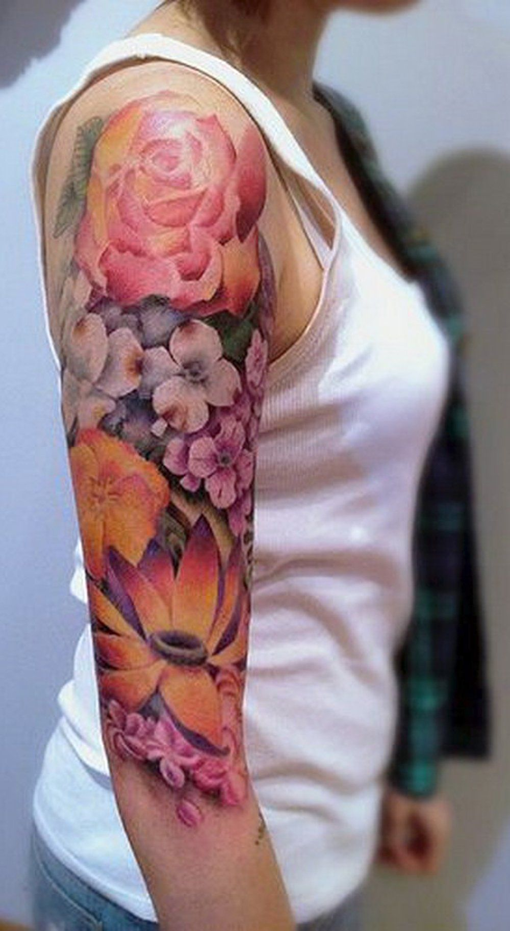Colorful Flower Full Arm Sleeve Tattoo Ideas For Women