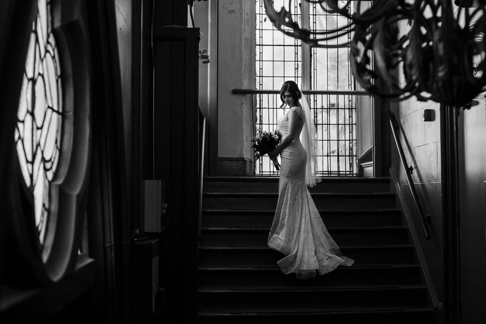 Berkeley Church Wedding Toronto, bridal portrait posed on stairs black and white #bridalportraitposes Berkeley Church Wedding Toronto, bridal portrait posed on stairs black and white #bridalportraitposes