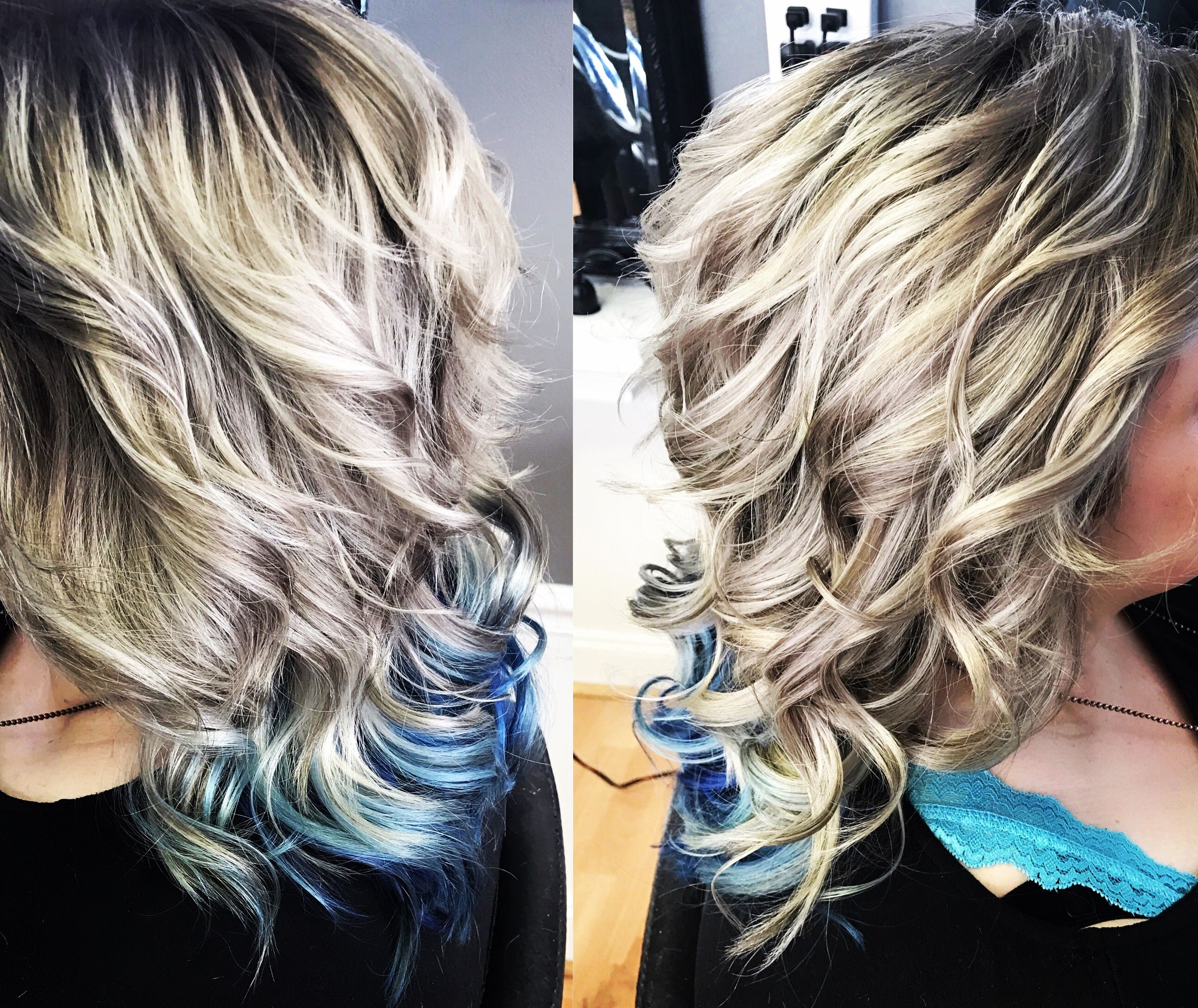 Ash Blonde With Platinum Highlights And Peekaboo Blue Hurr Do