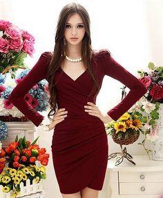 Elegant V Neck Long Sleeve Red Dress En 2019 Vestidos