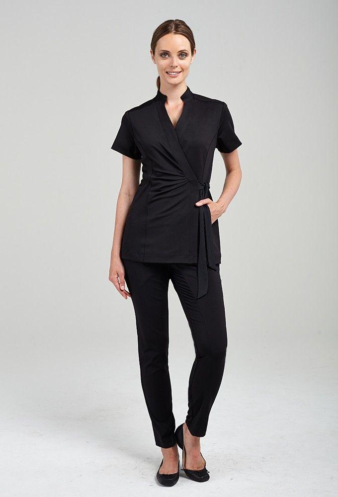 Andiamo wrap tunic en 2019 salones spa uniform beauty for Spa uniform female