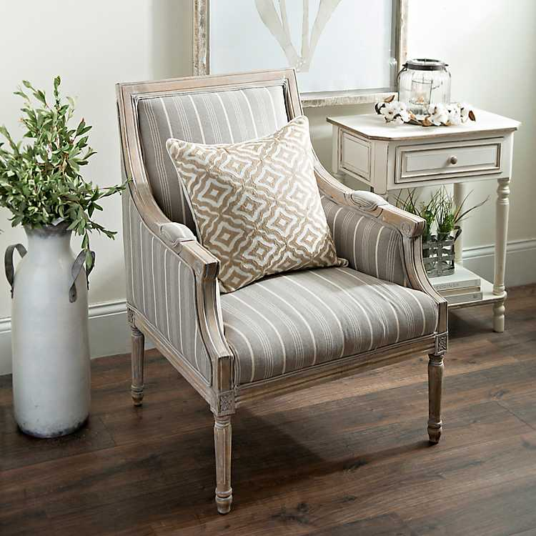 Mckenna Taupe Stripe Accent Chair From Kirkland S Accent Chairs For Living Room Stripe Accent Chair Living Room Chairs #striped #chairs #living #room