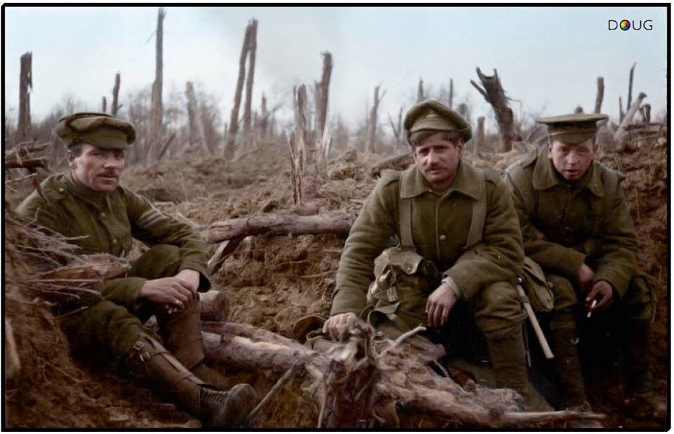#WW1ColourisedPhotos .... Troops of the 1st Battalion, The Queen's Own (Royal West Kent Regiment) in a front line post near Ypres, April 1915.  1st Battalion, Royal West Kent Regiment was based in Dublin with 13th Brigade, 5th Division when war was declared in August 1914. They proceeded to France landing at Le Havre on the 15th of August 1914. They were in action in The Battle of Mons and the subsequent retreat, The Battle of Le Cateau, The Battle of the Marne, The Battle of the Aisne,...
