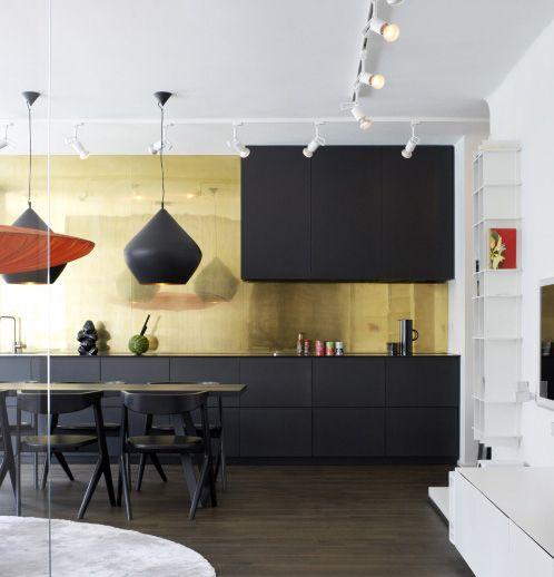 Gold Splashbacks Matt Black Cabinets Kitchen Cabinet Color