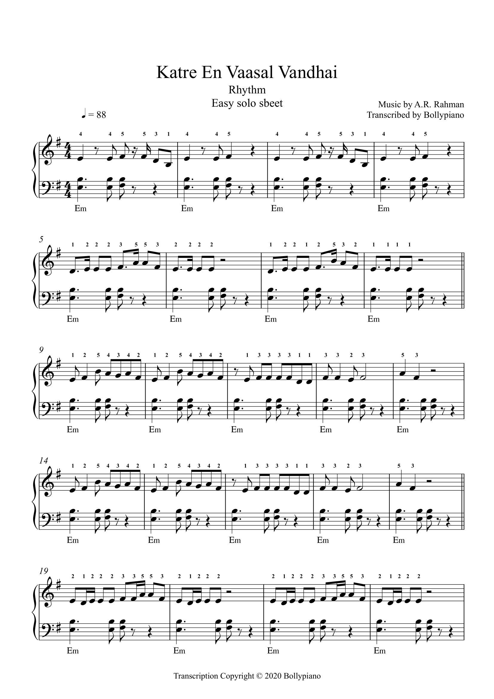 Katre En Vaasal Vandhai Easy Piano Notes Rhythm Bollypiano In 2020 Easy Piano Violin Sheet Music Piano Tutorial