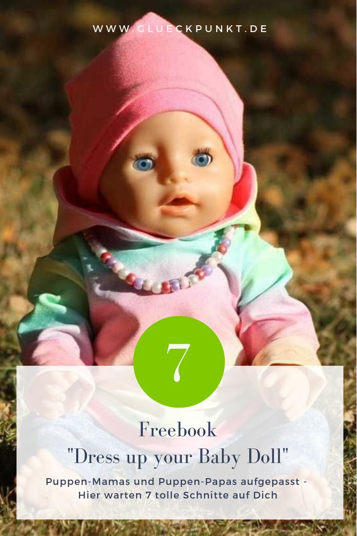 Freebook - Dress up your Baby Doll - Zwergnase Design - Puppenkleidung Einfache Schnitte für das Baby Deiner kleinen Puppenmama oder Deinen kleinen Puppenpapa ? Beinhaltet: - einen Pullover - eine Tunika in A-Linie - ein Zipfelshirt - ein VoKuHiLa-shirt  - eine Mütze - eine Hose - eine Kapuze die an jedes der Shirts genährt werden kann.  Grössen : - 19cm - 24cm - 30cm - 33cm - 36cm - 43cm - 46cm - 48cm - 50cm - Nähen Kinder - Mädchen/Jungen - Puppen/Puppenkleidung - Set - Glückpunkt. #toydoll