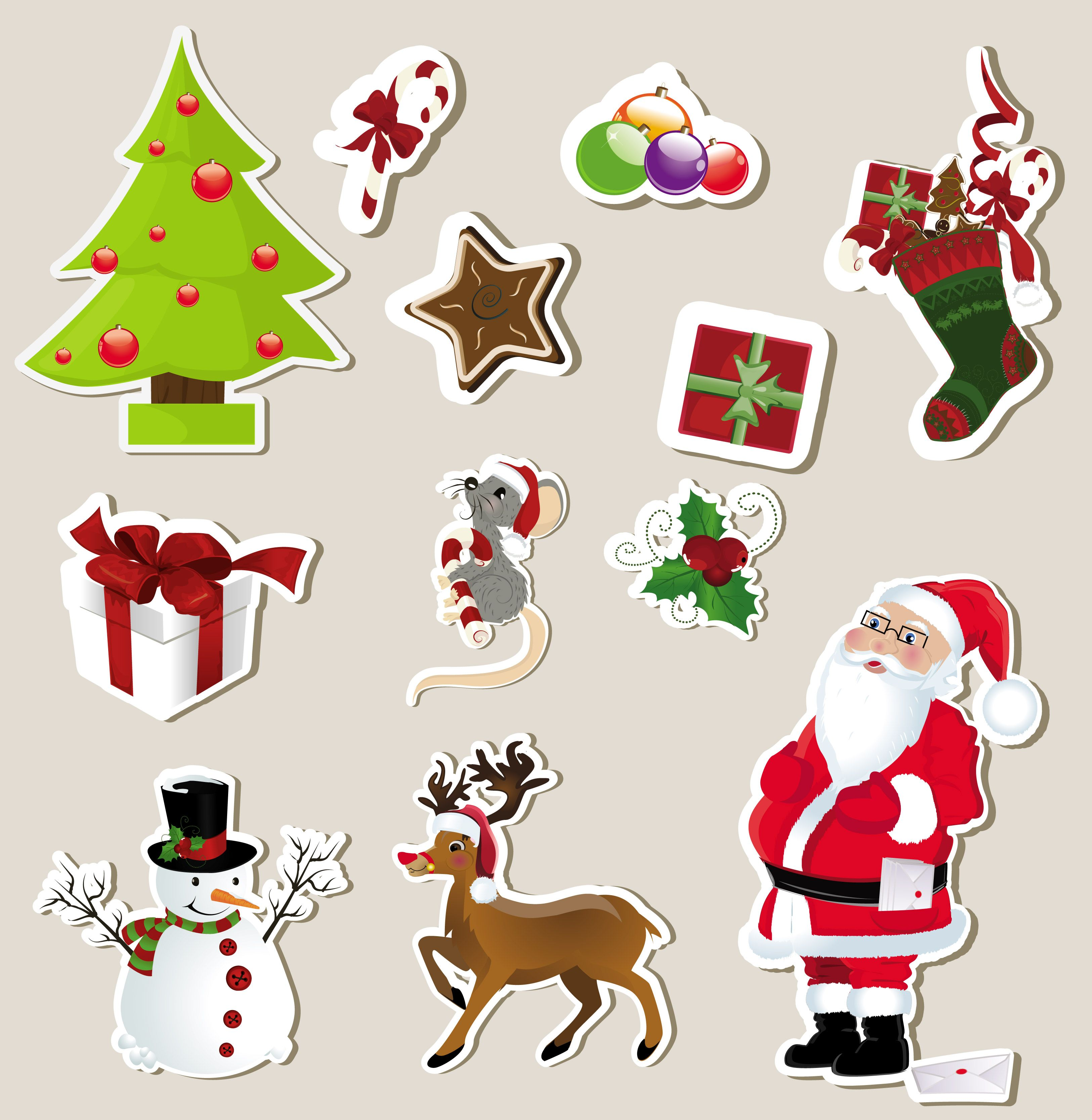 Free Vector Christmas Stickers Element 01 Vector