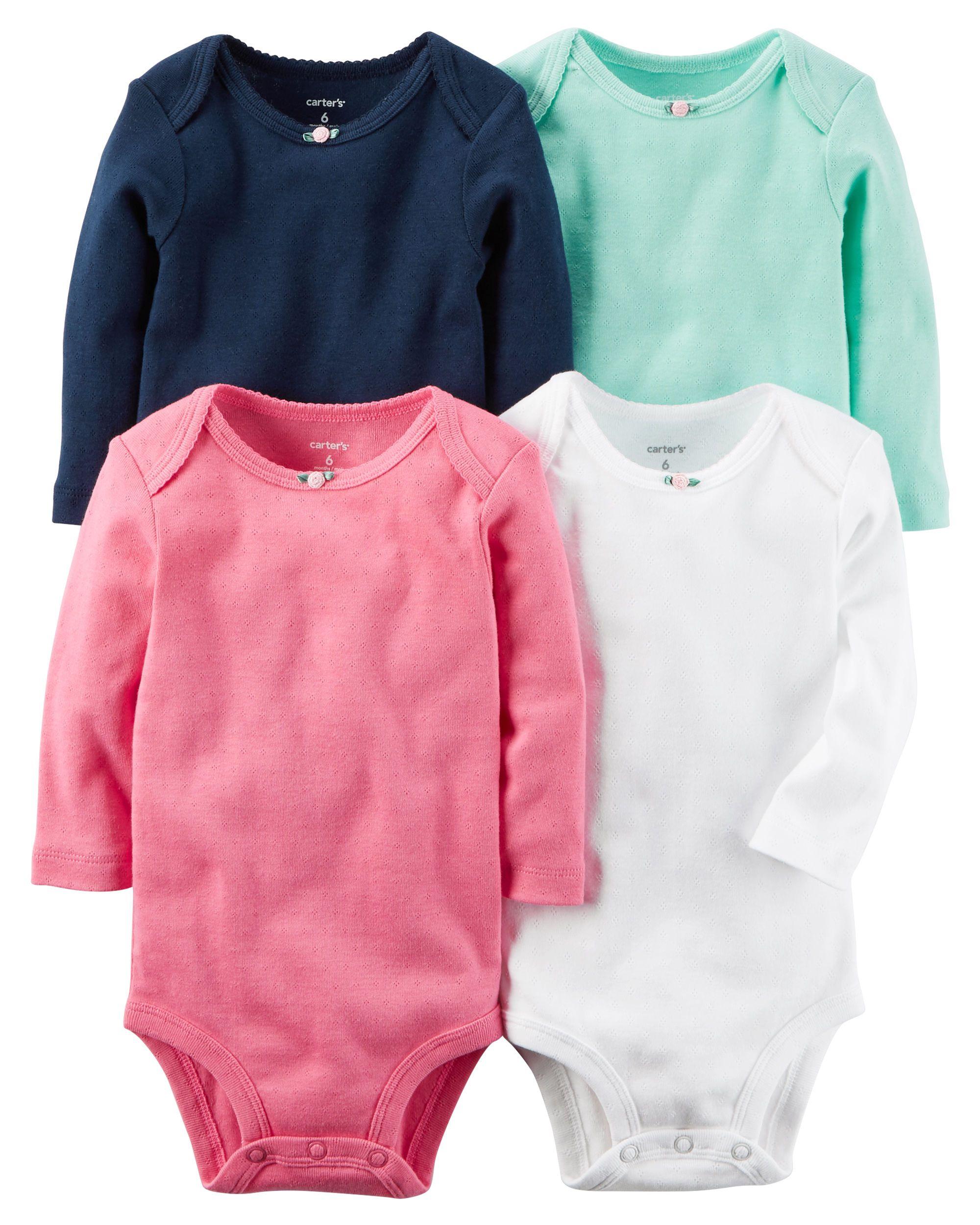 Baby Girl 4 Pack Long Sleeve Original Bodysuits Carters