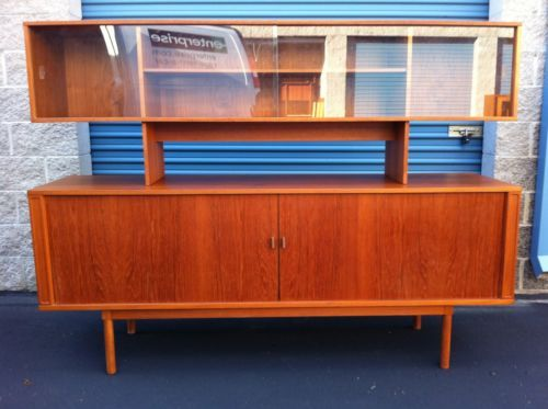 Danish Credenza Hutch : Vintage danish teak credenza with floating hutch by jens