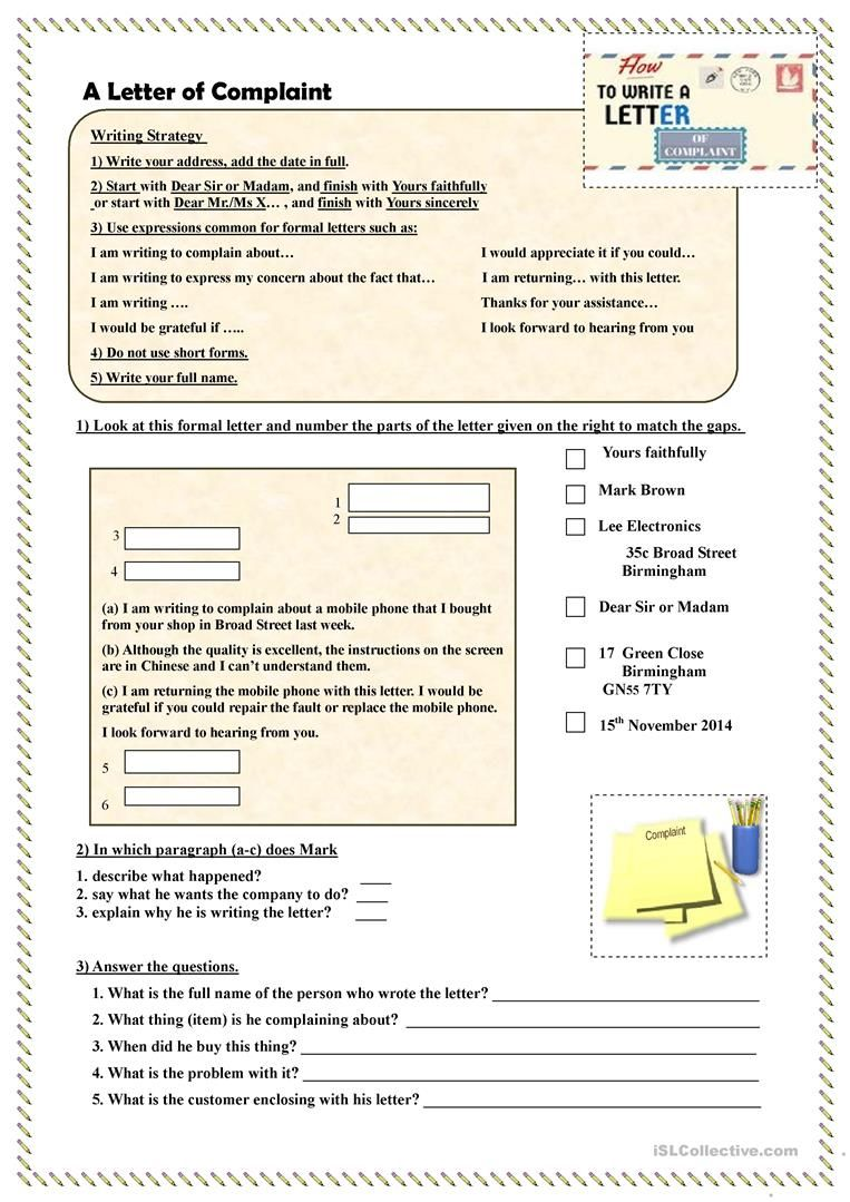 How To Write A Letter Of Complaint Worksheet Free Esl Printable Worksheets Made By Teacher Writing Worksheets Formal Letter Writing Letter Writing Worksheets [ 1079 x 763 Pixel ]