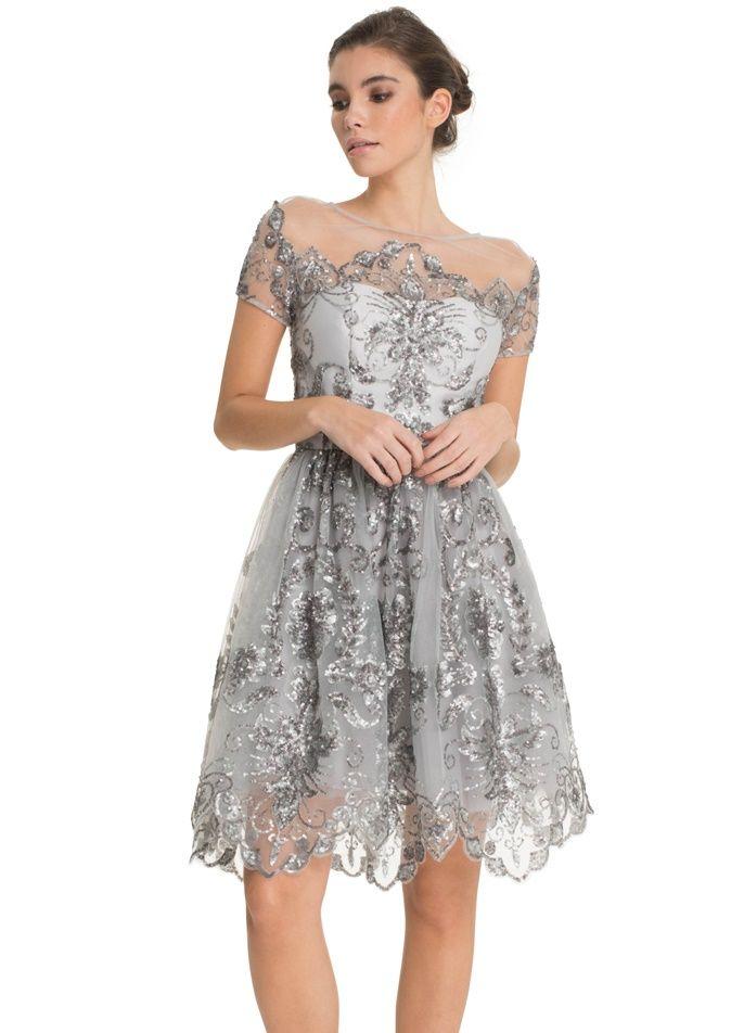 cadde14abc Srebrna sukienka na wesele i studniówkę