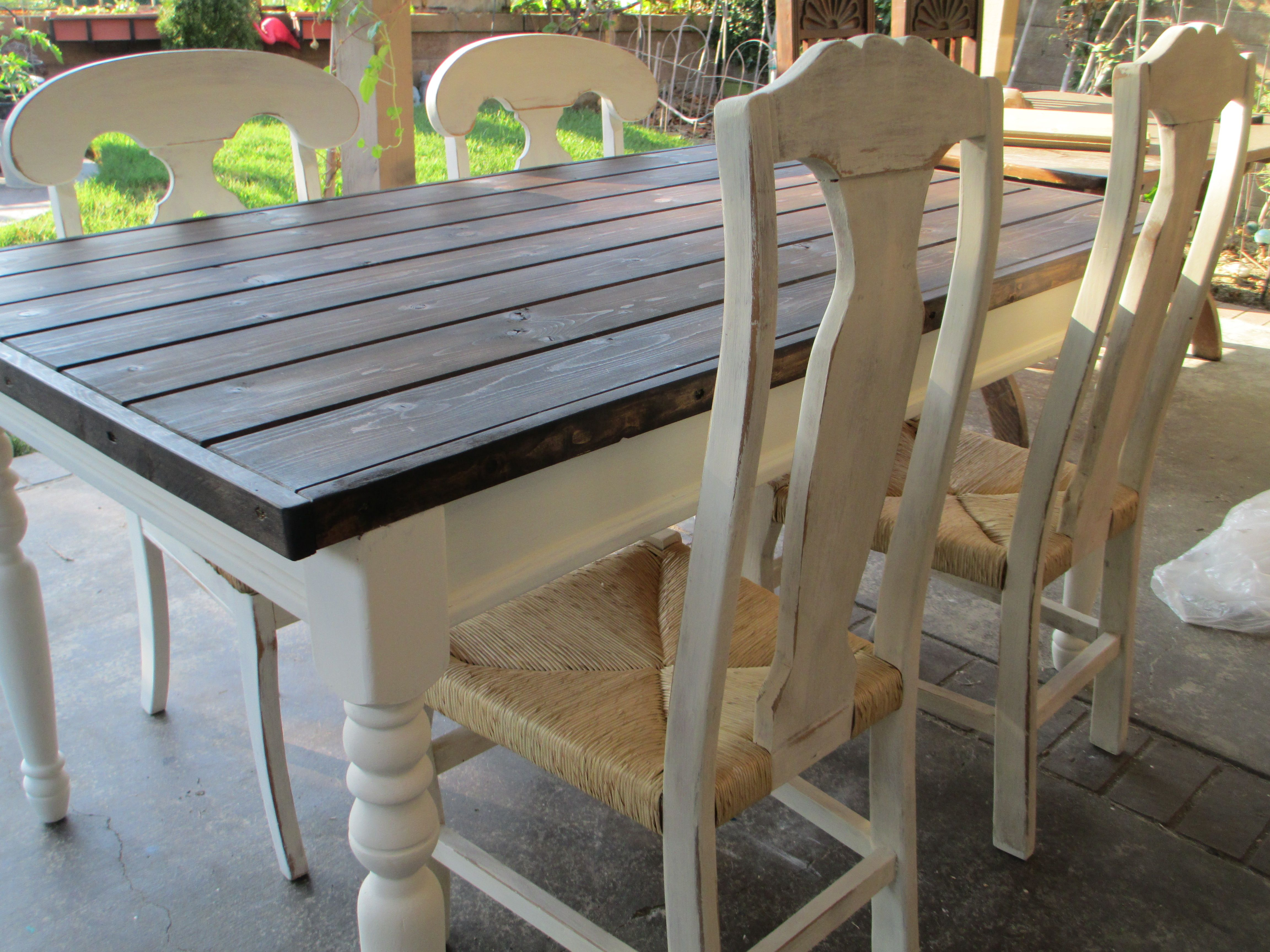 Farmhouse Table Chairs Done In Espresso Top With Old White Ascp