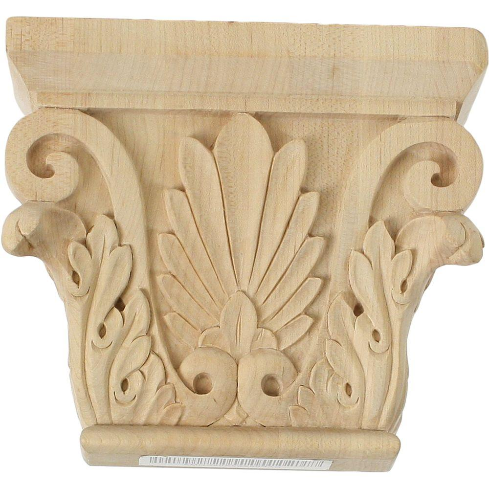 Ekena Millwork 3-7/8 in. x 11 in. x 8-7/8 in. Unfinished Wood Alder Large Chesterfield Capital